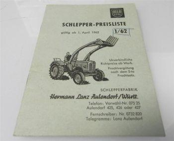 Lanz Hela D415 D218 D225 D230 D38 D45 Schlepper Preisliste 1/1962