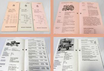 Massey Ferguson Schlepper Mähdrescher Pressen 3 Preislisten E/V25 ab 1969