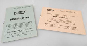 Fahr Mähdrescher Zusatzgeräte 2 Preislisten ab 1960