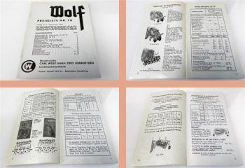 Wolf Anbaugeräte Wender Roder Ladewagen ... Preisliste 78 ab 196