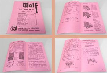 Wolf Anbaugeräte Wender Roder Dungstreuer ... Preisliste 75 ab 1