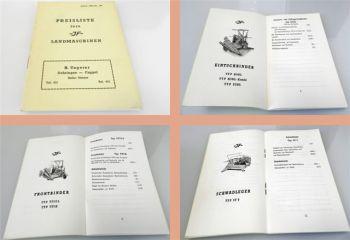 JF Landmaschinen Binder Schwadleger Streuer Preisliste 100 1958