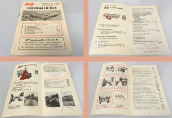 JF Landmaschinen Häcksler Roder Lader Leger Preisliste 105A 1962
