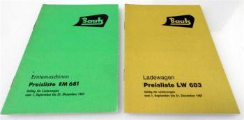 Bautz Erntemaschinen Ladewagen 2 Preislisten EM681 LW683 1967