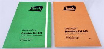 Bautz Erntemaschinen Ladewagen 2 Preislisten EM685 LW693 1968