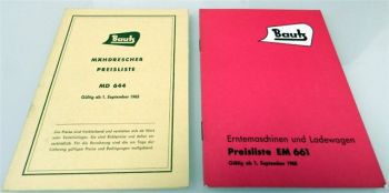 Bautz Erntemaschinen Mähdrescher 2 Preislisten EM661 MD644 1963/