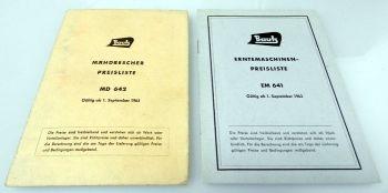 Bautz Erntemaschinen Mähdrescher 2 Preislisten EM641 MD642 1963