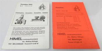 Himel Landmaschinen Gebläse 2 Preislisten ab 1966 / 1968