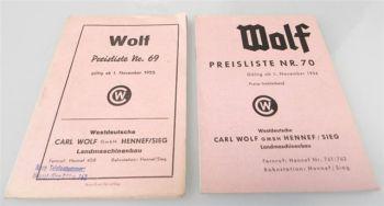 Wolf Landmaschinen 2 Preislisten Nr. 69 u. 70 ab 1955/56