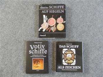 Votiv-Schiffe, Schiffe auf Siegeln, Schiff als Zeichen, 3 Bücher 1972-81