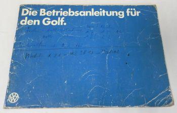 Betriebsanleitung VW Golf 1 mit Einspritzmotor Bedienungsanleitu