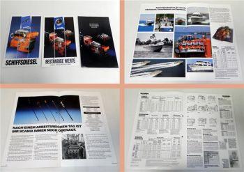 3 Prospekte Scania Schiffsdieselmotoren / Einbau- u. Schiffsmoto