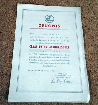 orig. Claas Kundendienst Urkunde Lehrgang 1965