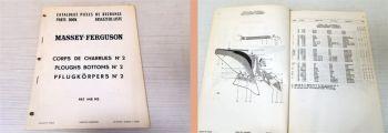 Ersatzteilkatalog Massey Ferguson MF Pflugkörper No 2 Ersatzteilliste 1969