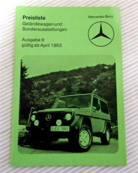 Mercedes Benz Geländewagen BR 460 und Sonderausstattungen Preisliste ab 4.1983