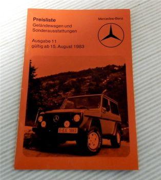 Mercedes Benz Geländewagen BR 460 und Sonderausstattung Preisliste ab 15.8.1983
