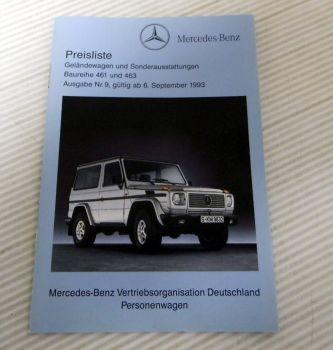 Mercedes Benz Geländewagen BR 461 463 und Sonderausstattung Prei