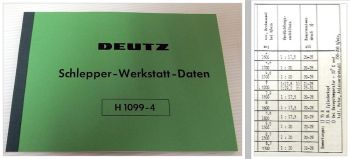 Taschenbuch Deutz Schlepper Werkstatt-Daten Werkstatthandbuch 1960