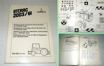 Deutz Intrac 2003 GI Ersatzteilliste Ergänzung für GI Kommunalausführung 1976