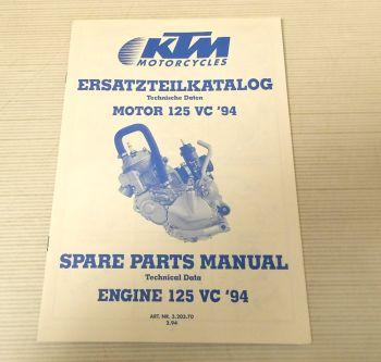 Ersatzteilkatalog KTM 125 VC 1994 Ersatzteilliste Motor Parts Li