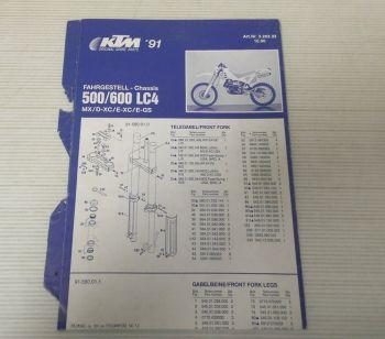 Ersatzteilliste KTM 500 600 LC4 MX D-XC E-XC E-GS 1991 Parts List Faltblatt