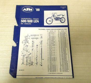 Ersatzteilliste KTM 500 600 LC4 MX + Enduro 1989 Parts List Faltblatt