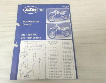 Ersatzteilliste KTM 240 250 MX + Enduro 1987 Parts List Faltblatt