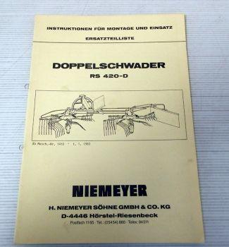 Ersatzteilliste Niemeyer RS420-D Betriebsanleitung 1983
