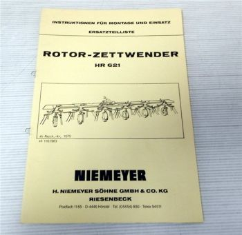 Ersatzteilliste Niemeyer HR621 Betriebsanleitung 1983