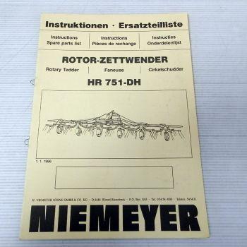 Ersatzteilliste Niemeyer HR751-DH Betriebsanleitung 1986