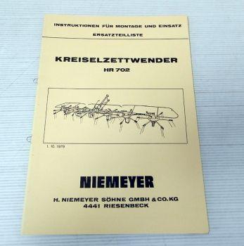 Ersatzteilliste Niemeyer HR702 Kreiselzettwender Betriebsanleitu