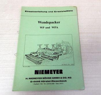 Ersatzteilliste Niemeyer WP WPA Wendepacker Betriebsanleitung 19