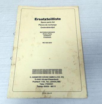 Ersatzteilliste Niemeyer RS425-DAV Rotorschwader Parts List 1989