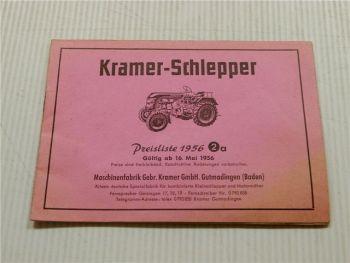 Preisliste 2a Kramer Schlepper KL11 KL12 K15 KB17 - KL17 KB25W K33 K45 1956