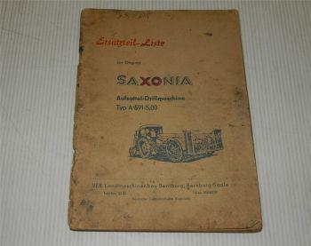Saxonia Aufsattel-Drillmaschine A591 5,00 Ersatzteilkatalog Ersa
