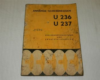 FMR U236 U237 Anhänge-Scheibenegge Betriebsanleitung Ersatzteilliste 1976