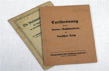 Tarifordnung Herren Maßschneiderei + Preisvorschiften Handwerk Schneider 1938