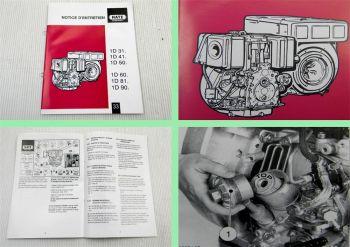 Hatz 1D31 1D41 1D50 1D60 1D81 1D90 Diesel moteur notice déntretien 2000