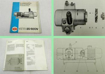 Fortschritt VZTD20/93DV Motor Bedienungsanleitung Ersatzteilkata