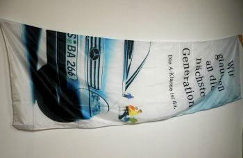 Mercedes Benz Hissfahne groß  für Ausleger ca. 4,40 x 1,20 m A-K