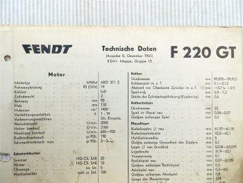 Fendt F 220 GT Technische Daten 1961 Datenblatt