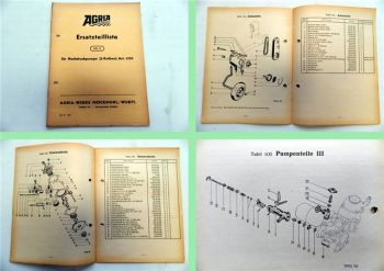 Agria Hochdruckpumpe 2 Kolben Art. 1535 Ersatzteilliste Ersatzteilkatalog 1956