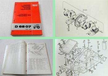 Deutz D 6807 Traktor Ersatzteilliste 1980 Original Ersatzteilkatalog