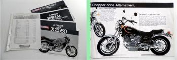 Yamaha XZ550 XS1100S XS1100 TR1 SR250SE XS400SE XV750SE Prospekte 1981