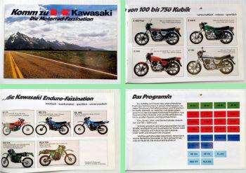 Kawasaki Motorrad Programm Prospekt ca. 1982