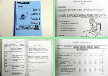Wacker DPS 1330 1350 1740 1750 Rüttelplatte Betriebsanleitung + Ersatzteilliste
