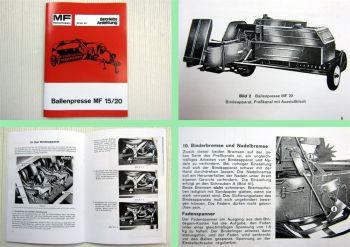 Massey Ferguson MF 15 MF 20 Ballenpresse Betriebsanleitung