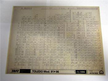 Seat Toledo ab 1991-1996 Ersatzteilkatalog Ersatzteilliste Microfich 1996