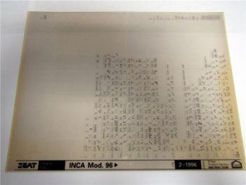 Seat Inca ab 1996 Ersatzteilkatalog Ersatzteilliste Microfich 1996