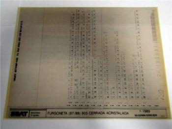 Seat Furgoneta 1987/88 Cerrada Acristalada Ersatzteilkatalog Microfich 1989